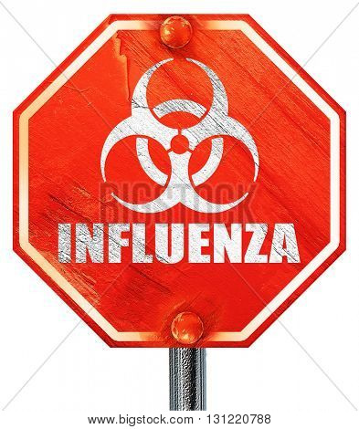 Influenza virus concept background, 3D rendering, a red stop sig