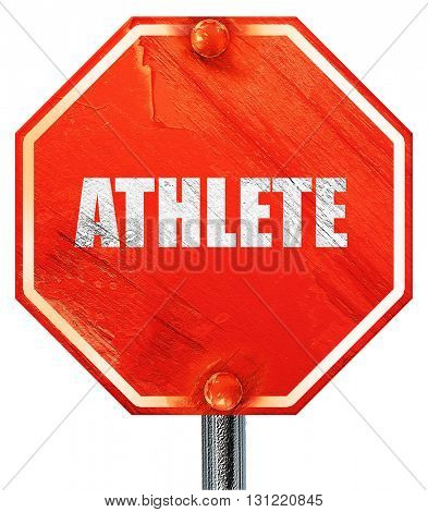 athlete, 3D rendering, a red stop sign