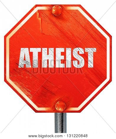 atheist, 3D rendering, a red stop sign