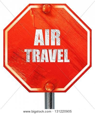 air travel, 3D rendering, a red stop sign
