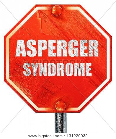 Asperger syndrome background, 3D rendering, a red stop sign