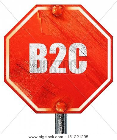 b2c, 3D rendering, a red stop sign