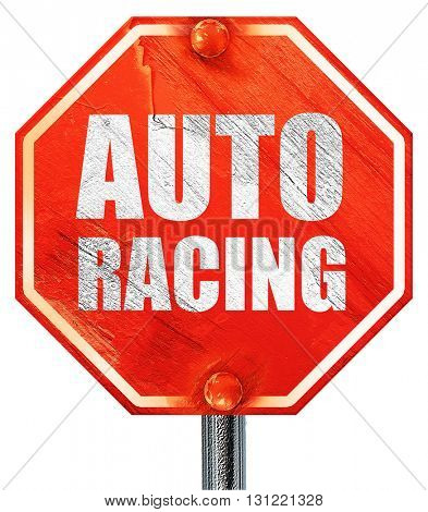 auto racing, 3D rendering, a red stop sign
