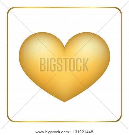Gold heart 3D. Volume effect. Golden foil frosted metal shape, isolated on white background. Symbol love, wedding, romance. Romantic Valentine Day design template invitation, card. Vector Illustration