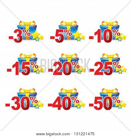 Discounts template with a colorful gift for sale