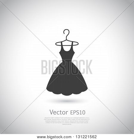 Black dress on hanger. Dress icon, logo. Vector illustration.
