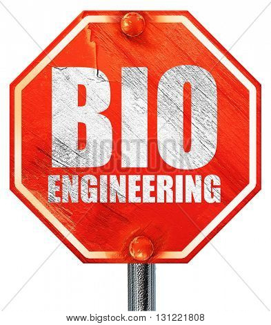 bio engineering, 3D rendering, a red stop sign