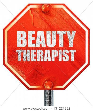 beauty therapist, 3D rendering, a red stop sign
