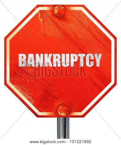 bankruptcy, 3D rendering, a red stop sign