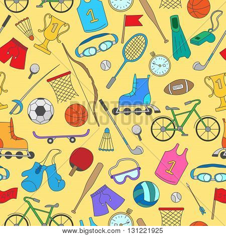 Seamless pattern on the theme of summer sports simple colorful icons on a yellow background