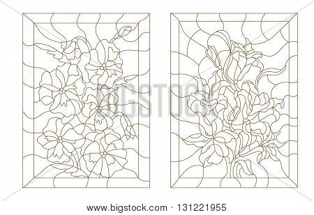 Set contour illustrations in the stained glass style lilies and pansies dark outline on a white background