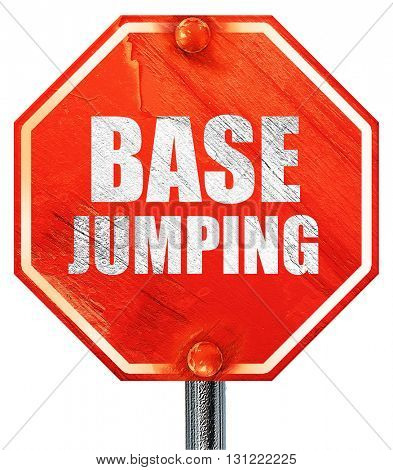base jumping, 3D rendering, a red stop sign