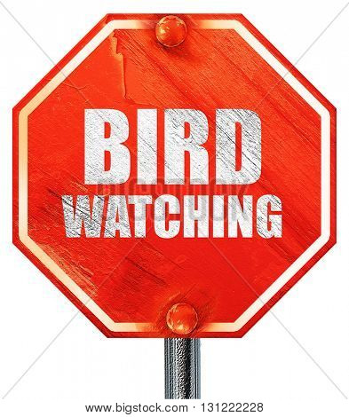 bird watching, 3D rendering, a red stop sign