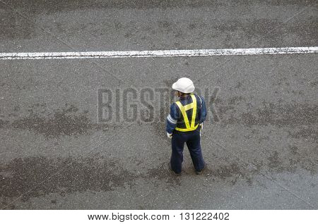 safety service worker on the street in Japan