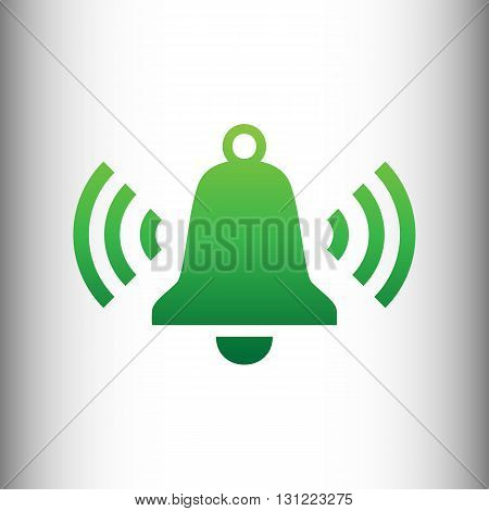 Ringing bell icon. Green gradient icon on gray gradient backround.