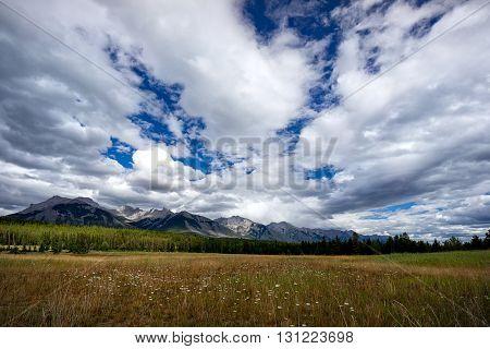 Dramatic skies in the Lake Minnewanka region of Banff National Park.
