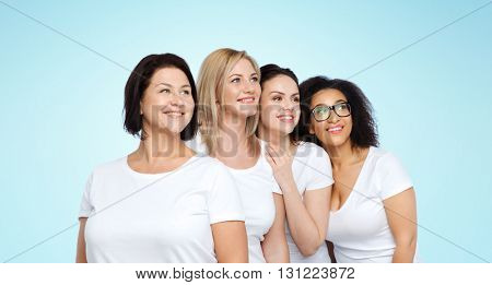 friendship, diverse, body positive and people concept - group of happy different size women in white t-shirts over blue background