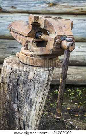 Old rusty vise standing on a tree stump in the backyard