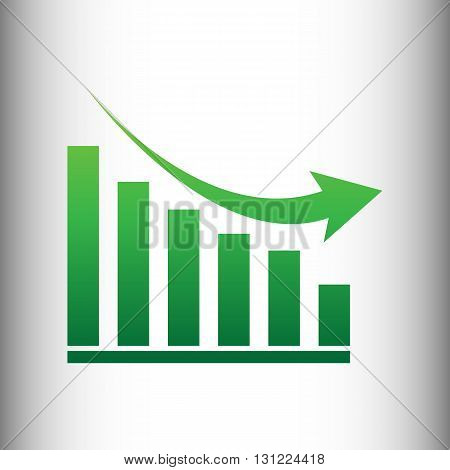 Declining graph sign. Green gradient icon on gray gradient backround.