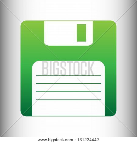 Floppy disk sign. Green gradient icon on gray gradient backround.