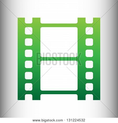 Reel of film sign. Green gradient icon on gray gradient backround.