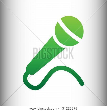 Microphone sign. Green gradient icon on gray gradient backround.