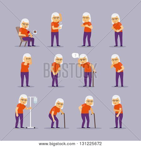 Elderly woman sick. Granny ill and sickness vector illustration