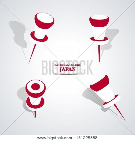 Set of pushpin in the national colors of Japan vector illustration.