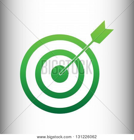 Target with dart. Green gradient icon on gray gradient backround.