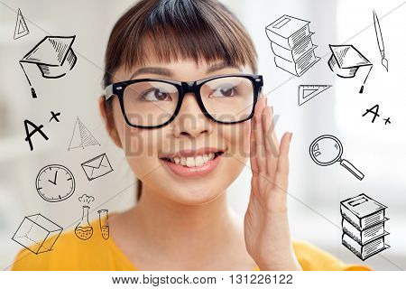 people, education and school concept - happy asian young woman or teenage student girl in glasses at home with doodles