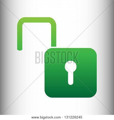 Unlock sign. Green gradient icon on gray gradient backround.