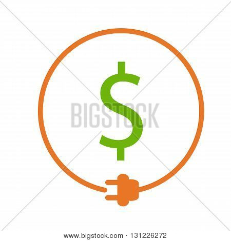 Money saving for electricity. Dollar sign in the circle with plug