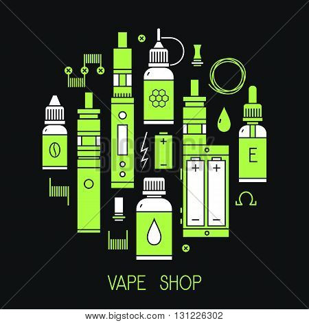 Vector illustration of vape and accessories for vape shop e-cigarette store. Vape icons set Isolated on black background