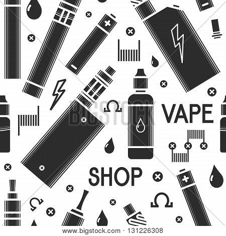 Vector seamless pattern for vape shop and vape service e-cigarette store. Print isolated on white background. Illustration of electronic cigarette and accessories.