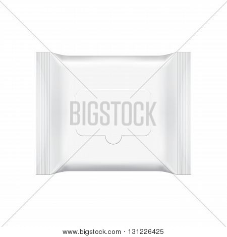Blank packaging wet wipes isolated on white background. Foil cosmetic bag. Package template. Realistic 3d mockup. Plastic pack template. Ready for design. Vector illustration. Cosmetic wet wipes plastic packaging.