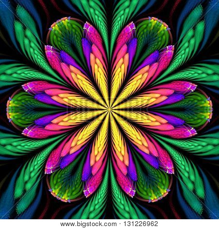 Abstract flower mandala on black background. Symmetrical pattern in yellow green blue purple and pink colors. Fantasy fractal design for postcards wallpapers or clothes.