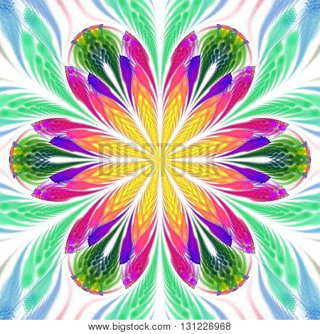 Abstract flower mandala on white background. Symmetrical pattern in yellow green blue purple and pink colors. Fantasy fractal design for postcards wallpapers or clothes.