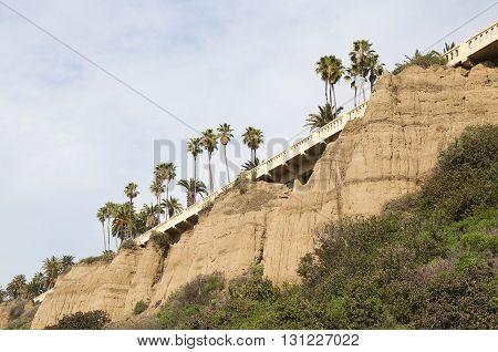 Beautiful view of Ocean Avenue from Pacific Coast Highway, Santa Monica Beach, California