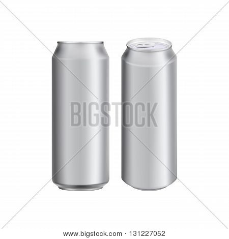 Two aluminum can for drink. Drink can. Blank aluminum can for beer or water. Isolated aluminum can. Soda can. Aluminium can beer. Coffee can vector. Aluminum can mockup. Realistic can mockup. Blank beer can. Drink package. Can for drink design