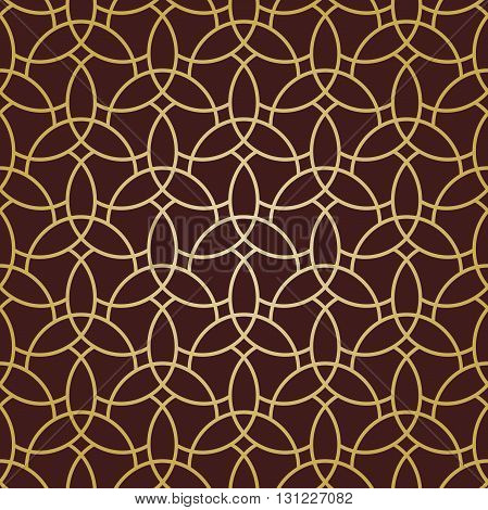 Seamless vector ornament in arabian style. Pattern for wallpapers and backgrounds. Brown and golden pattern