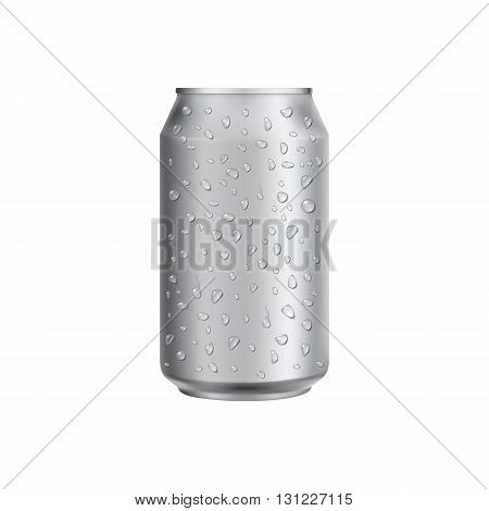 Aluminum can with water drop. Drink can. Blank aluminum can for beer or water. Isolated aluminum can. Soda can. Aluminium can beer. Coffee can vector. Aluminum can mockup. Realistic can mockup. Blank beer can. Drink package. Water can