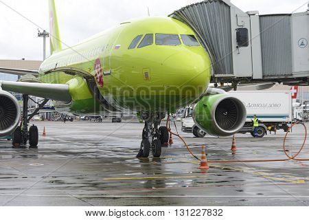 MOSCOW, RUSSIA - MAY 19, 2016: Airbus A319 S7 airlines preflight preparation on the apron of Domodedovo International Airport.