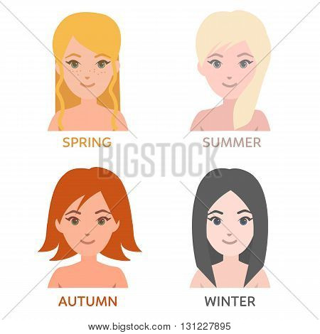 Seasonal color types of women. Young women faces with different skin hair colors hairstyles. Vector fashion illustration.