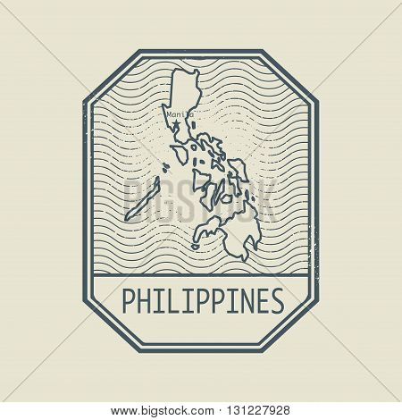 Stamp with the name and map of Philippines, vector illustration