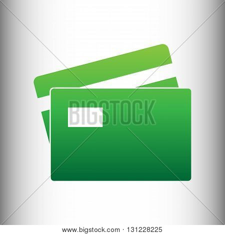 Credit Card sign. Green gradient icon on gray gradient backround.
