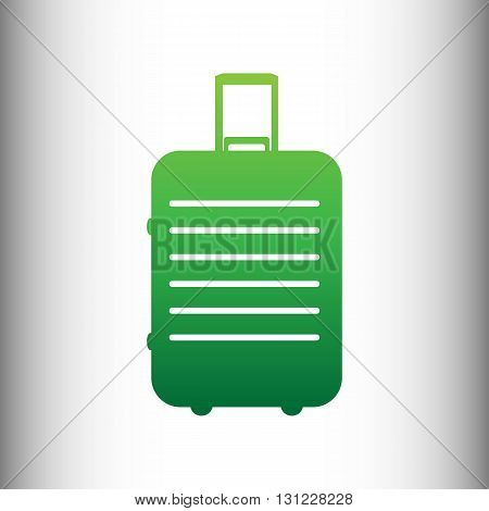 Baggage sign. Green gradient icon on gray gradient backround.