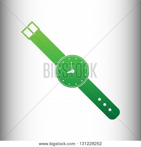 Watch sign. Green gradient icon on gray gradient backround.