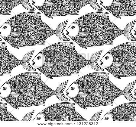 Vector seamless pattern with hand drawn ornate graphic fish.  Black and white beautiful endless background.