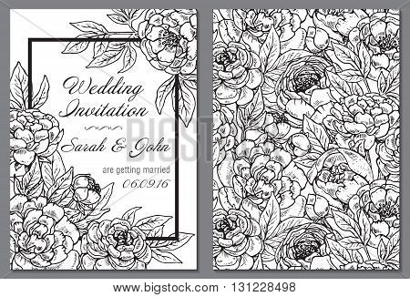 Wedding invitation with black and white hand drawn graphic peony flowers. Flourish card with copy space