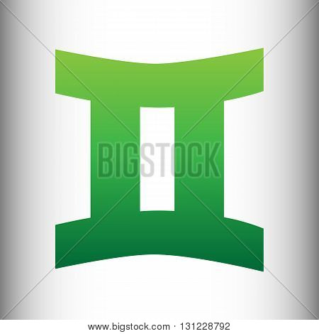 Gemini sign. Green gradient icon on gray gradient backround.